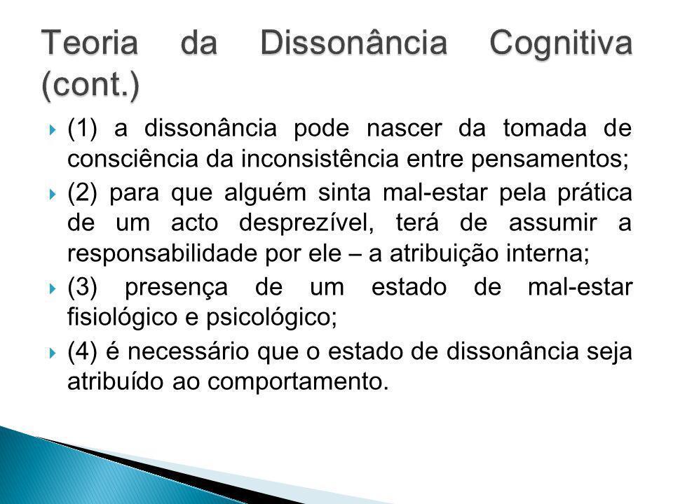 (1) a dissonância pode nascer da tomada de consciência da inconsistência entre pensamentos; (2) para que alguém sinta mal-estar pela prática de um act