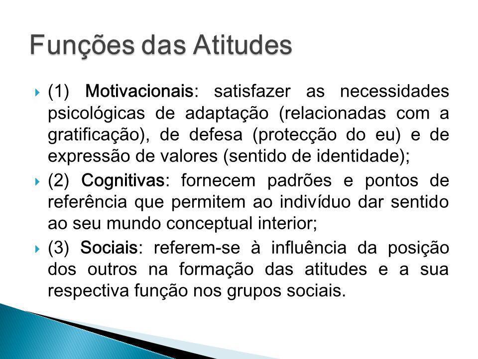 (1) Motivacionais: satisfazer as necessidades psicológicas de adaptação (relacionadas com a gratificação), de defesa (protecção do eu) e de expressão