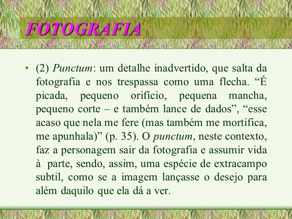 FOTOGRAFIA (2) Punctum: um detalhe inadvertido, que salta da fotografia e nos trespassa como uma flecha. É picada, pequeno orifício, pequena mancha, p