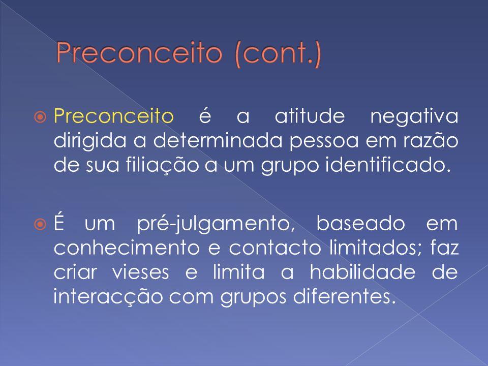 Preconceito é a atitude negativa dirigida a determinada pessoa em razão de sua filiação a um grupo identificado. É um pré-julgamento, baseado em conhe
