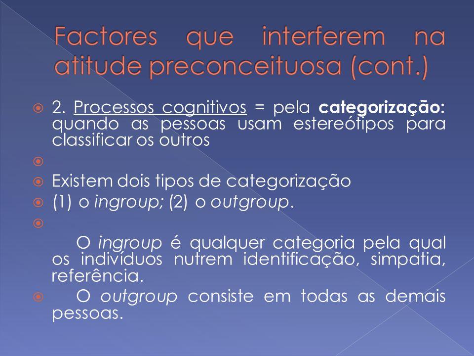 2. Processos cognitivos = pela categorização: quando as pessoas usam estereótipos para classificar os outros Existem dois tipos de categorização (1) o