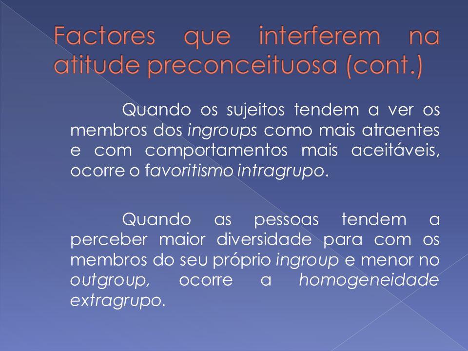 Quando os sujeitos tendem a ver os membros dos ingroups como mais atraentes e com comportamentos mais aceitáveis, ocorre o favoritismo intragrupo. Qua