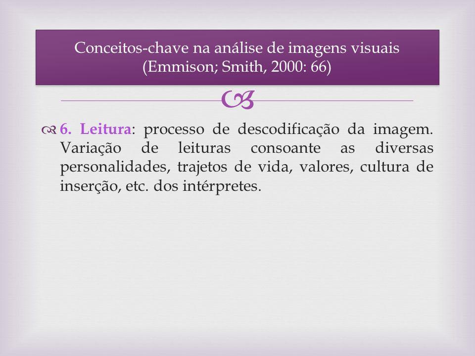 6. Leitura : processo de descodificação da imagem. Variação de leituras consoante as diversas personalidades, trajetos de vida, valores, cultura de in