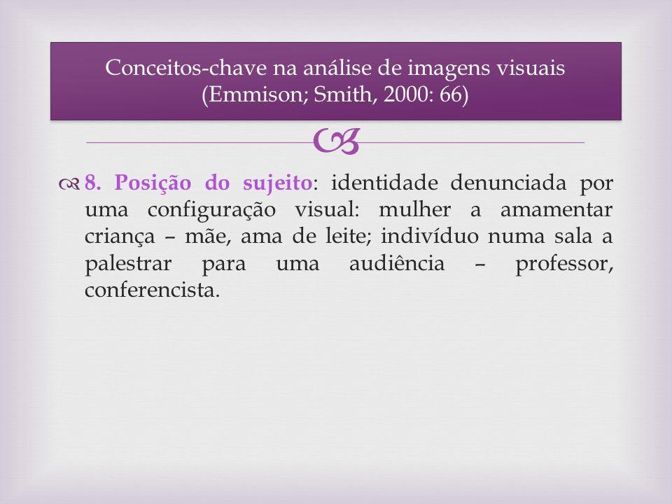 8. Posição do sujeito : identidade denunciada por uma configuração visual: mulher a amamentar criança – mãe, ama de leite; indivíduo numa sala a pales