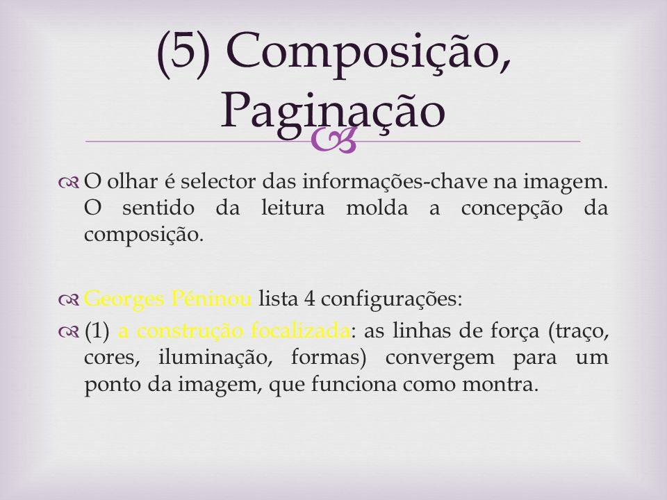 (5) Composição, Paginação O olhar é selector das informações-chave na imagem. O sentido da leitura molda a concepção da composição. Georges Péninou li