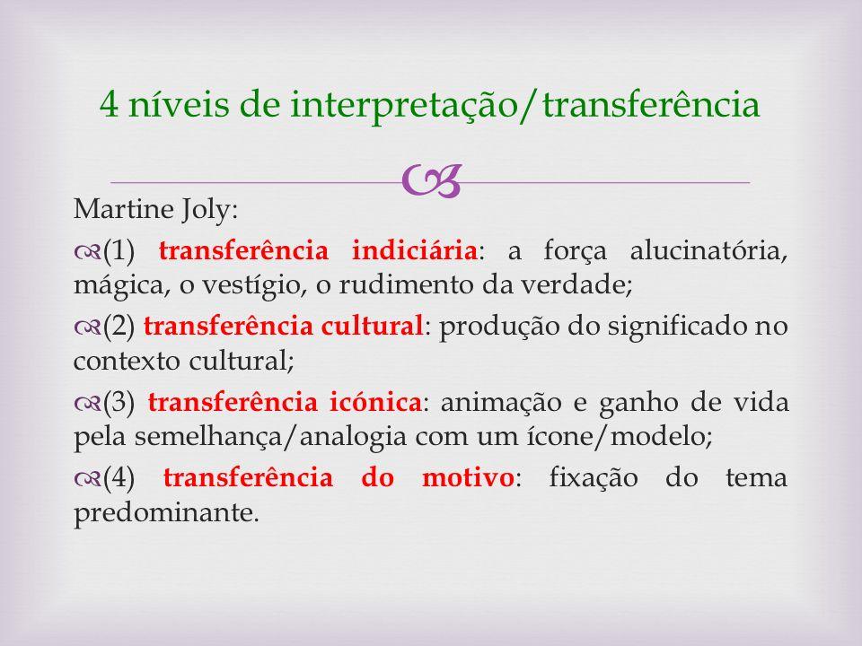 4 níveis de interpretação/transferência Martine Joly: (1) transferência indiciária : a força alucinatória, mágica, o vestígio, o rudimento da verdade;