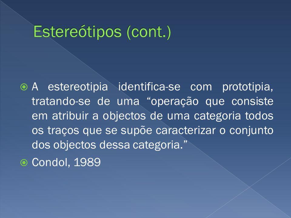 A estereotipia identifica-se com prototipia, tratando-se de uma operação que consiste em atribuir a objectos de uma categoria todos os traços que se s
