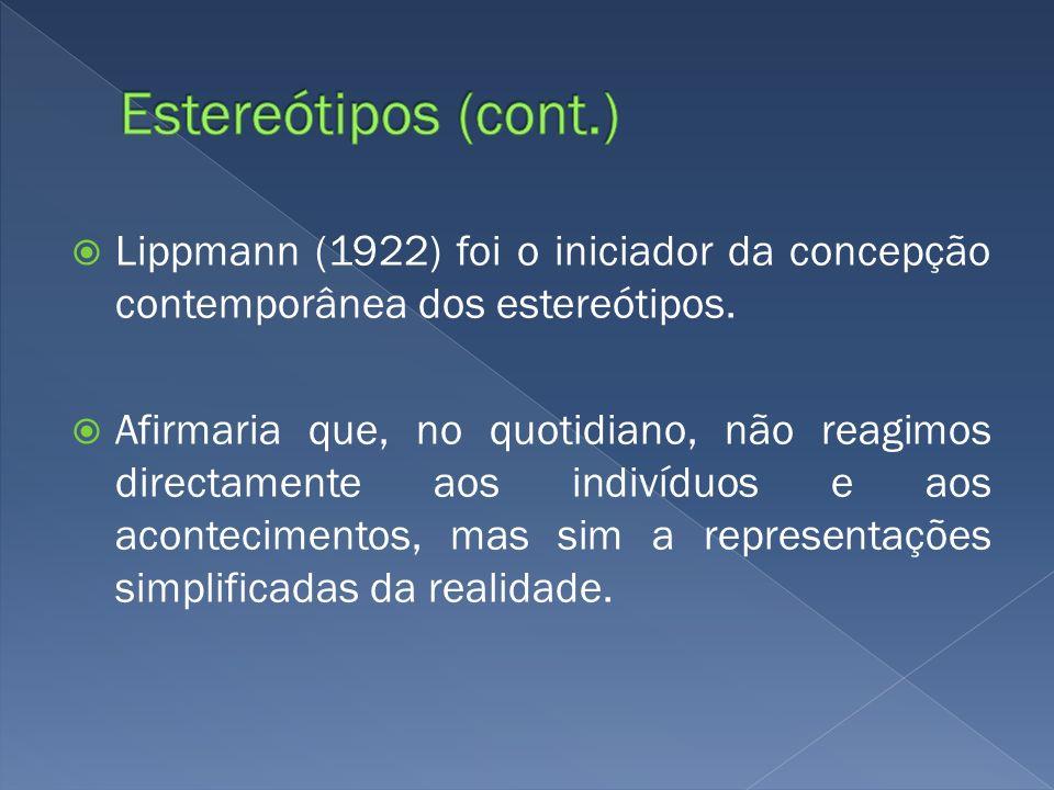 Lippmann (1922) foi o iniciador da concepção contemporânea dos estereótipos. Afirmaria que, no quotidiano, não reagimos directamente aos indivíduos e