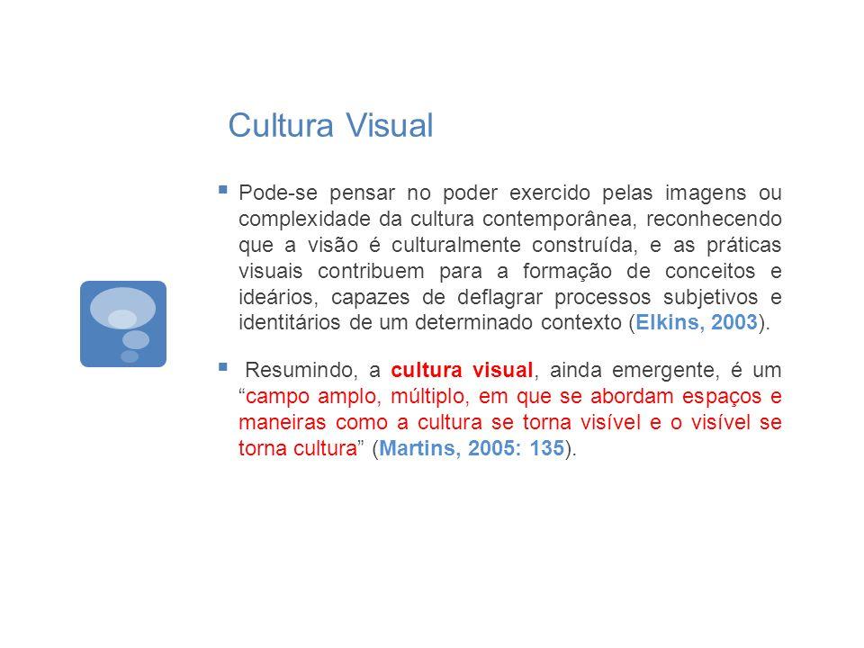 Cultura Visual Pode-se pensar no poder exercido pelas imagens ou complexidade da cultura contemporânea, reconhecendo que a visão é culturalmente const