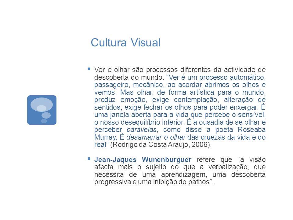 Cultura Visual Ver e olhar são processos diferentes da actividade de descoberta do mundo. Ver é um processo automático, passageiro, mecânico, ao acord