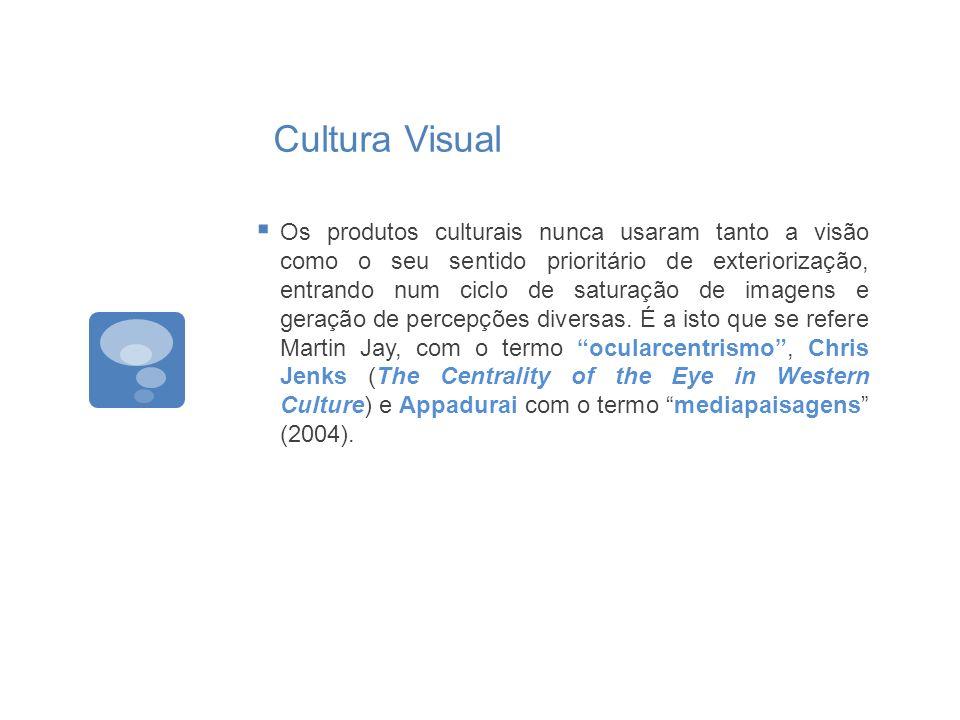 Cultura Visual Os produtos culturais nunca usaram tanto a visão como o seu sentido prioritário de exteriorização, entrando num ciclo de saturação de i