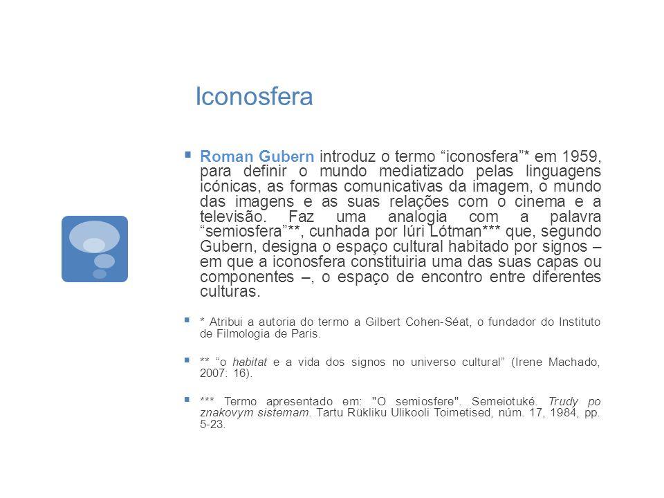 Iconosfera Roman Gubern introduz o termo iconosfera* em 1959, para definir o mundo mediatizado pelas linguagens icónicas, as formas comunicativas da i