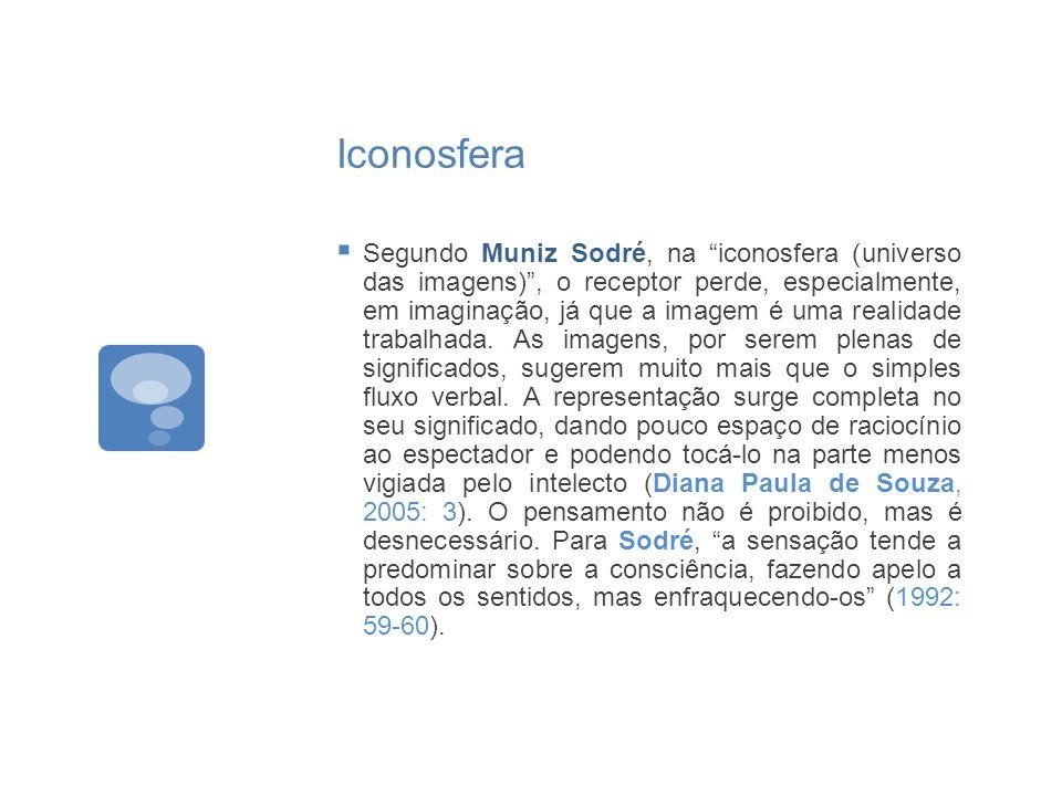 Iconosfera Segundo Muniz Sodré, na iconosfera (universo das imagens), o receptor perde, especialmente, em imaginação, já que a imagem é uma realidade