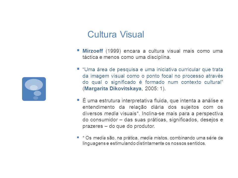 Cultura Visual Mirzoeff (1999) encara a cultura visual mais como uma táctica e menos como uma disciplina. Uma área de pesquisa e uma iniciativa curric