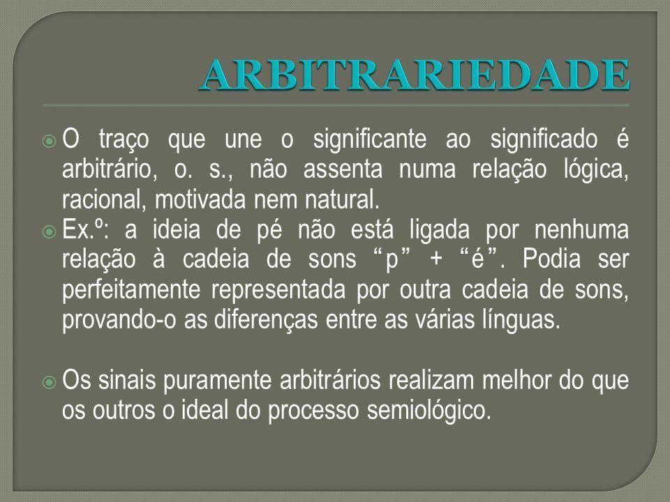 O traço que une o significante ao significado é arbitrário, o. s., não assenta numa relação lógica, racional, motivada nem natural. Ex.º: a ideia de p