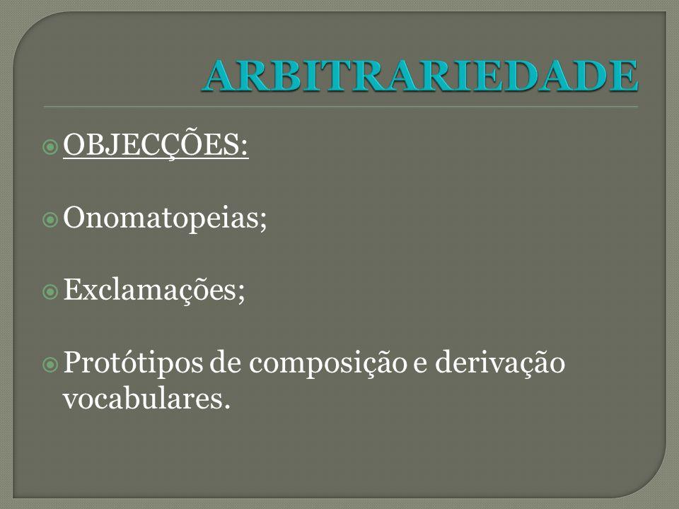 OBJECÇÕES: Onomatopeias; Exclamações; Protótipos de composição e derivação vocabulares.