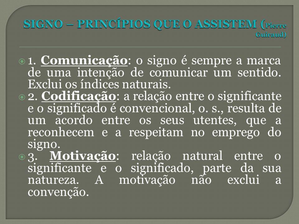 1. Comunicação: o signo é sempre a marca de uma intenção de comunicar um sentido. Exclui os índices naturais. 2. Codificação: a relação entre o signif