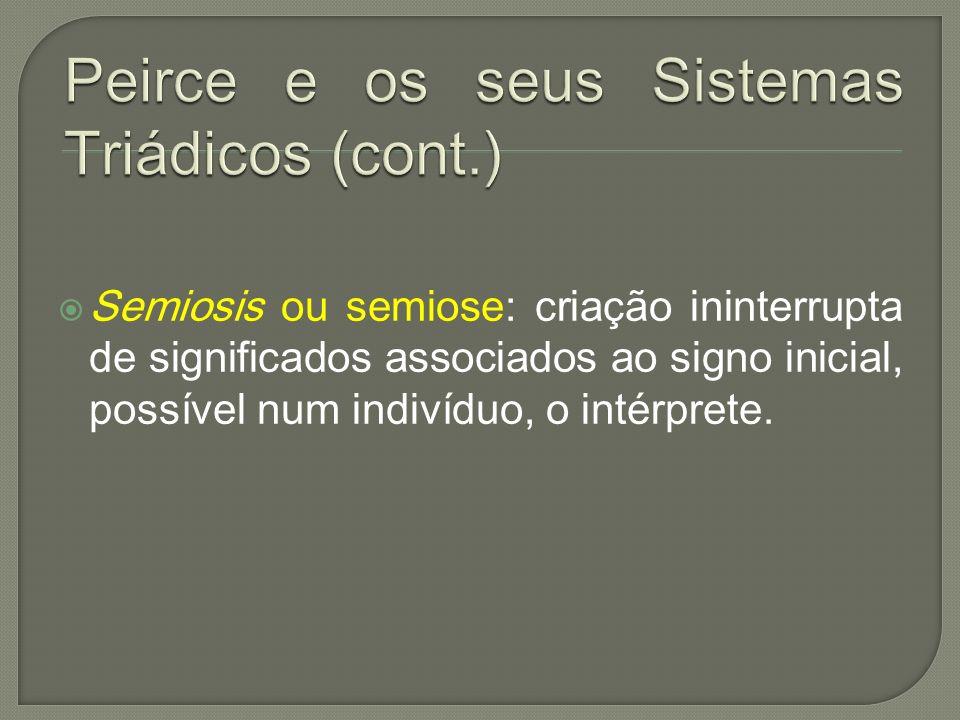 Semiosis ou semiose: criação ininterrupta de significados associados ao signo inicial, possível num indivíduo, o intérprete.