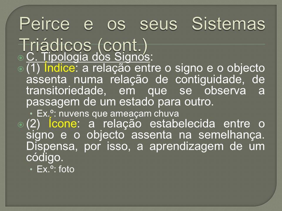 C. Tipologia dos Signos: (1) Índice: a relação entre o signo e o objecto assenta numa relação de contiguidade, de transitoriedade, em que se observa a
