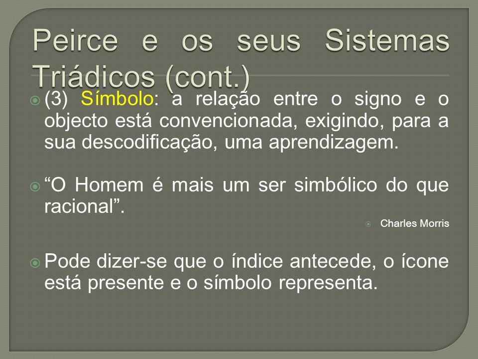 (3) Símbolo: a relação entre o signo e o objecto está convencionada, exigindo, para a sua descodificação, uma aprendizagem. O Homem é mais um ser simb