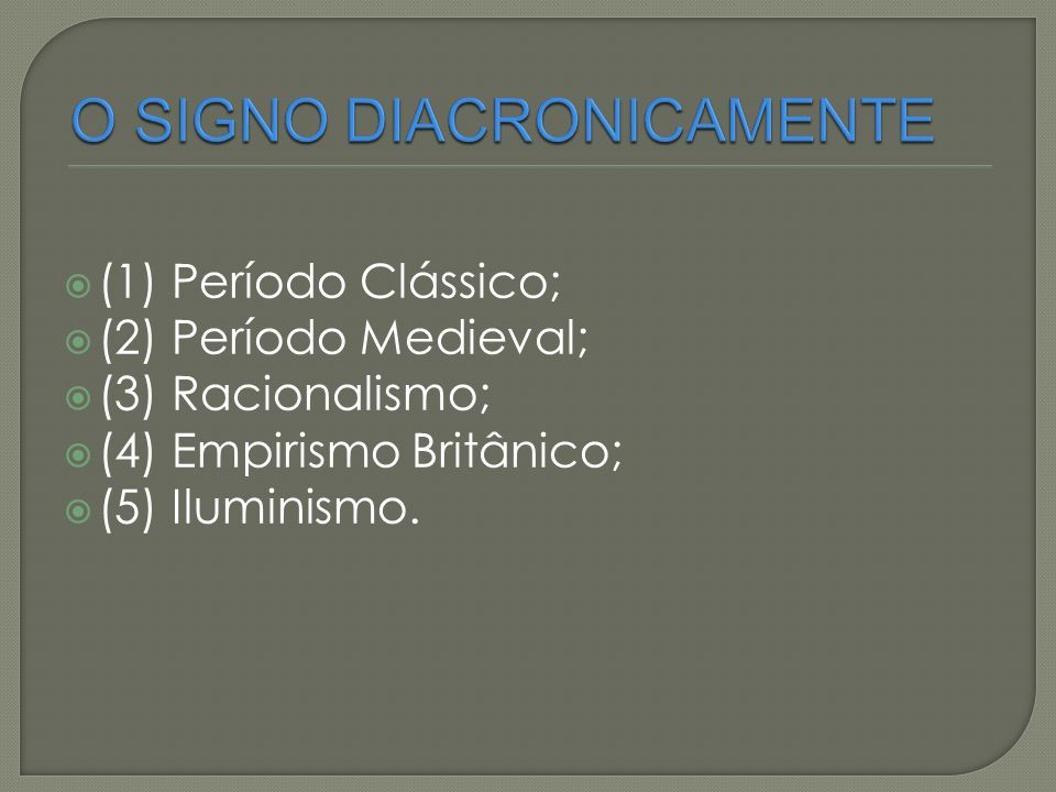 (1) Período Clássico; (2) Período Medieval; (3) Racionalismo; (4) Empirismo Britânico; (5) Iluminismo.