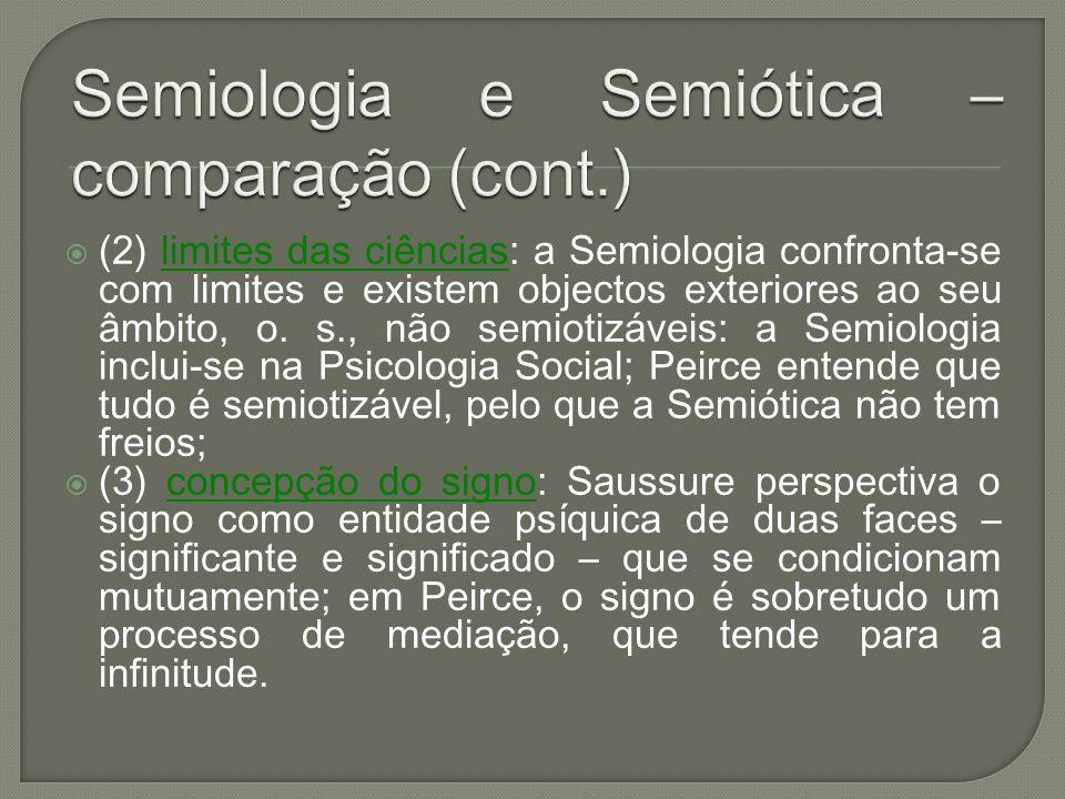 (2) limites das ciências: a Semiologia confronta-se com limites e existem objectos exteriores ao seu âmbito, o. s., não semiotizáveis: a Semiologia in