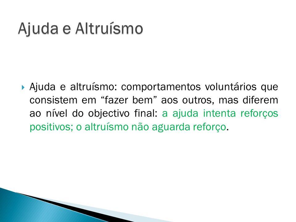 Ajuda e altruísmo: comportamentos voluntários que consistem em fazer bem aos outros, mas diferem ao nível do objectivo final: a ajuda intenta reforços