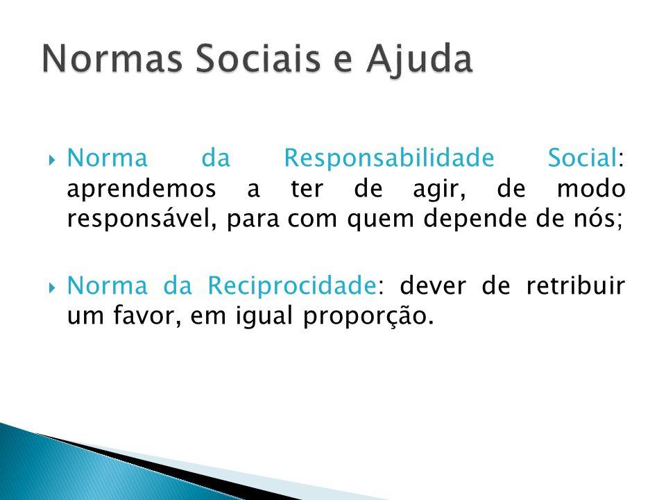 Norma da Responsabilidade Social: aprendemos a ter de agir, de modo responsável, para com quem depende de nós; Norma da Reciprocidade: dever de retrib