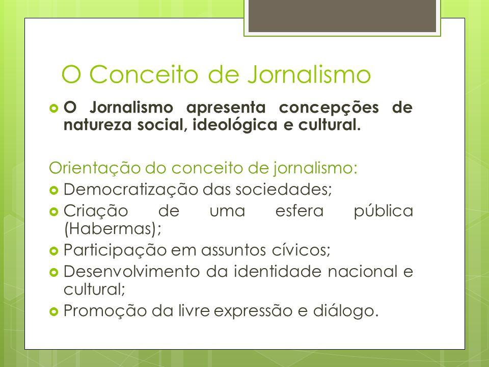 O Conceito de Jornalismo O Jornalismo apresenta concepções de natureza social, ideológica e cultural. Orientação do conceito de jornalismo: Democratiz
