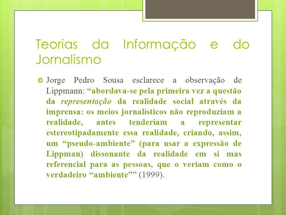 Teorias da Informação e do Jornalismo Jorge Pedro Sousa esclarece a observação de Lippmann: abordava-se pela primeira vez a questão da representação d