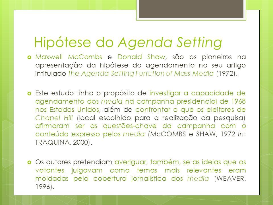 Hipótese do Agenda Setting Maxwell McCombs e Donald Shaw, são os pioneiros na apresentação da hipótese do agendamento no seu artigo intitulado The Age