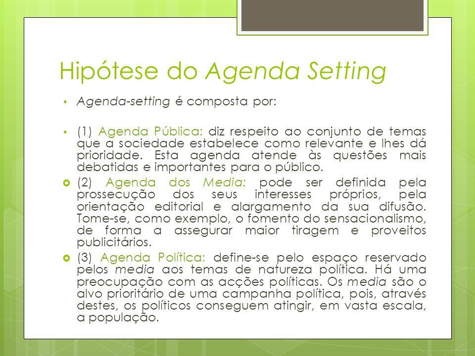 Hipótese do Agenda Setting Agenda-setting é composta por: (1) Agenda Pública: diz respeito ao conjunto de temas que a sociedade estabelece como releva