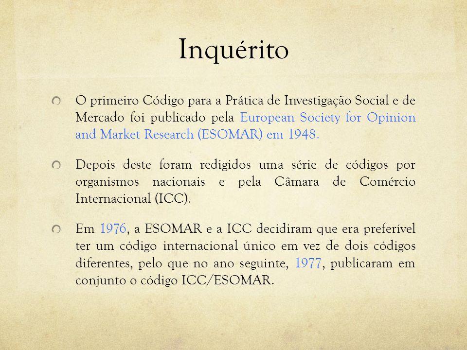 Inquérito O primeiro Código para a Prática de Investigação Social e de Mercado foi publicado pela European Society for Opinion and Market Research (ES