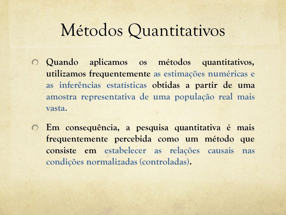 Métodos Quantitativos Quando aplicamos os métodos quantitativos, utilizamos frequentemente as estimações numéricas e as inferências estatísticas obtid