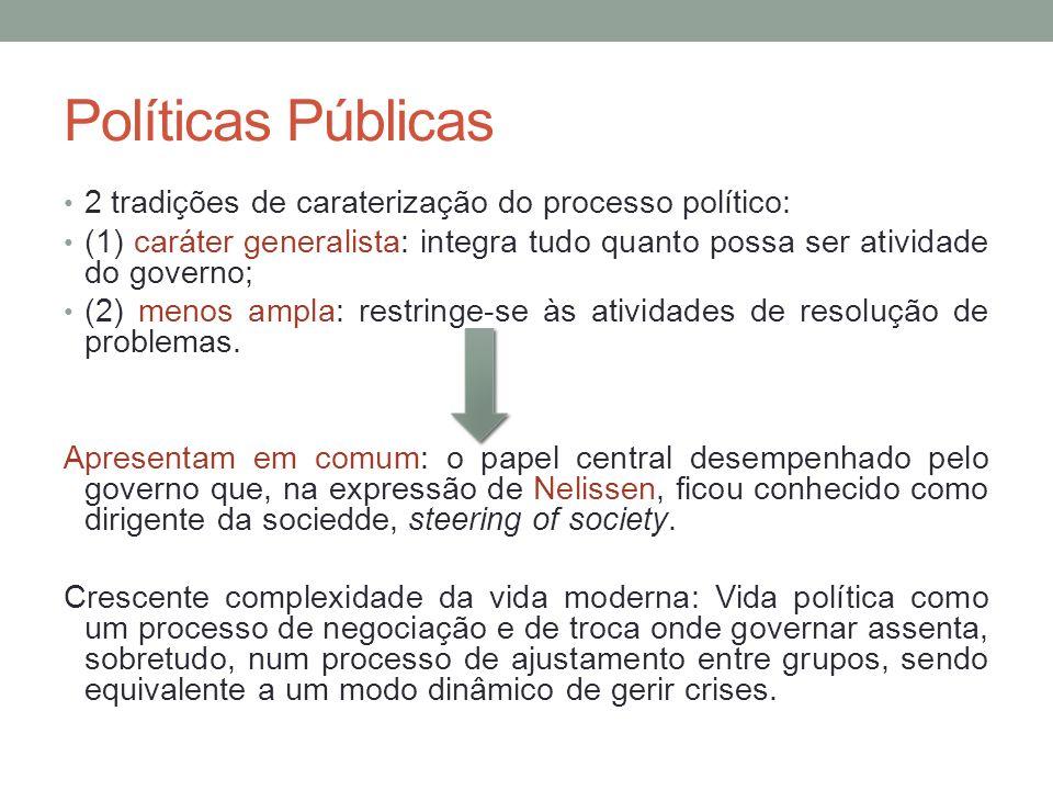 Políticas Públicas 2 tradições de caraterização do processo político: (1) caráter generalista: integra tudo quanto possa ser atividade do governo; (2)