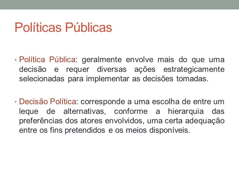 Políticas Públicas Política Pública: geralmente envolve mais do que uma decisão e requer diversas ações estrategicamente selecionadas para implementar
