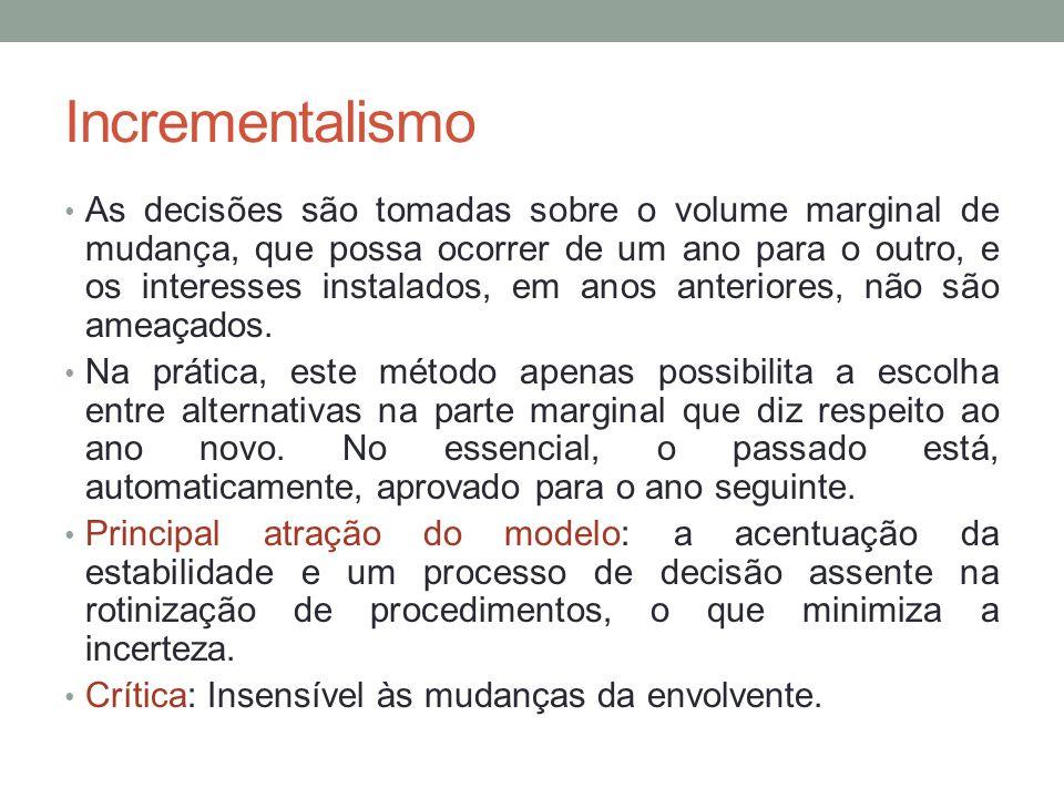 Incrementalismo As decisões são tomadas sobre o volume marginal de mudança, que possa ocorrer de um ano para o outro, e os interesses instalados, em a