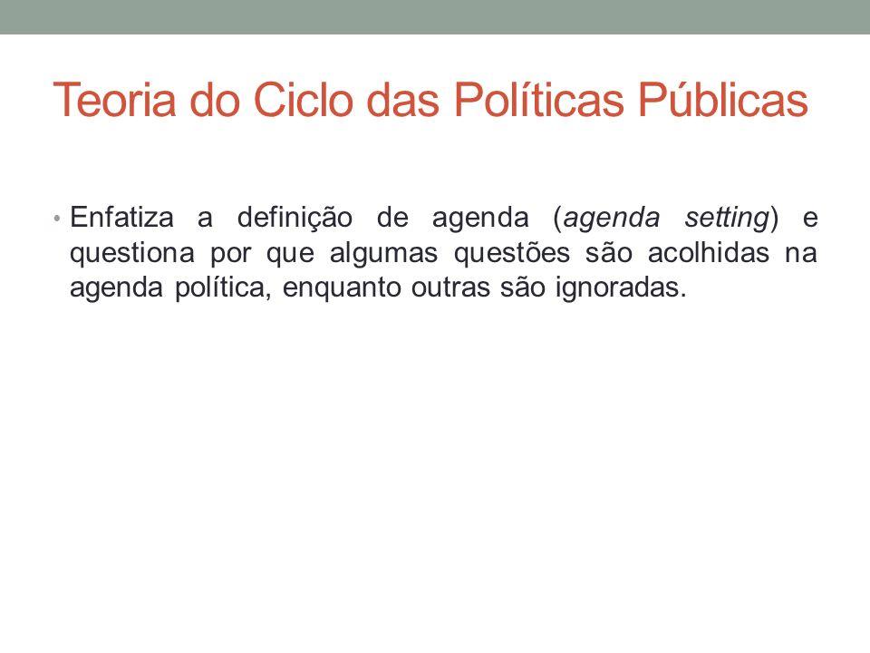 Teoria do Ciclo das Políticas Públicas Enfatiza a definição de agenda (agenda setting) e questiona por que algumas questões são acolhidas na agenda po