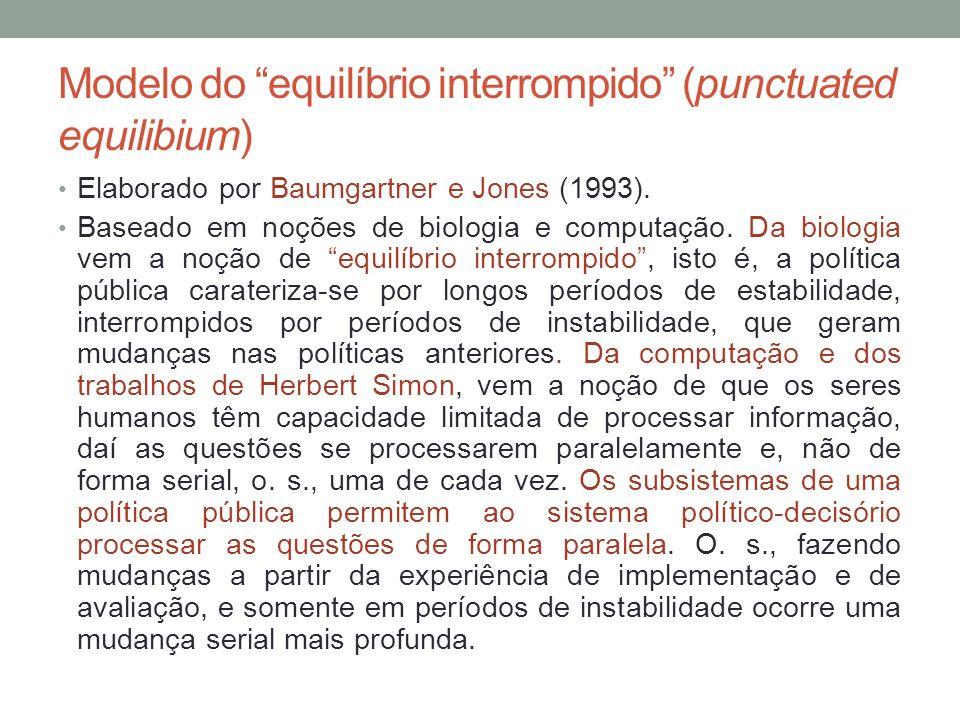 Modelo do equilíbrio interrompido (punctuated equilibium) Elaborado por Baumgartner e Jones (1993). Baseado em noções de biologia e computação. Da bio