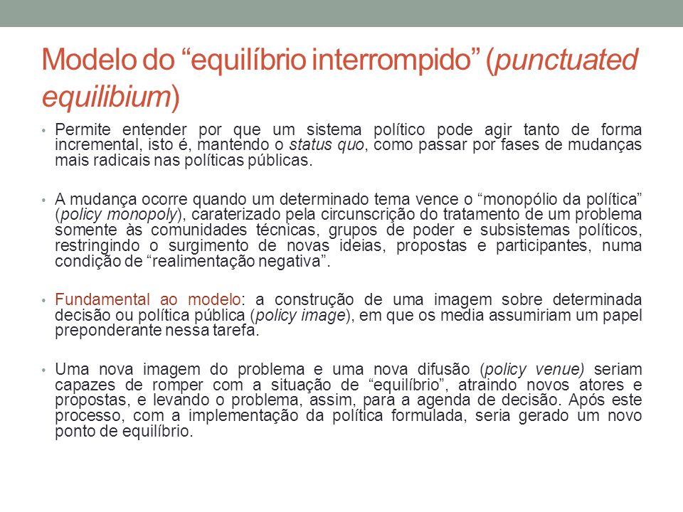 Modelo do equilíbrio interrompido (punctuated equilibium) Permite entender por que um sistema político pode agir tanto de forma incremental, isto é, m