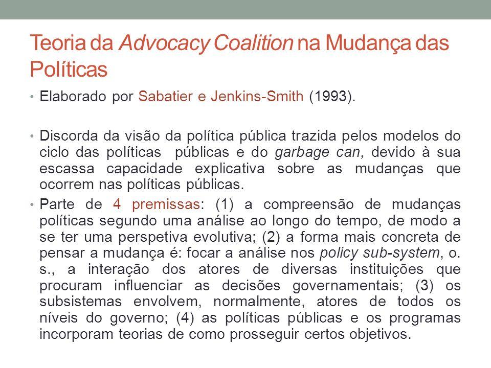 Teoria da Advocacy Coalition na Mudança das Políticas Elaborado por Sabatier e Jenkins-Smith (1993). Discorda da visão da política pública trazida pel