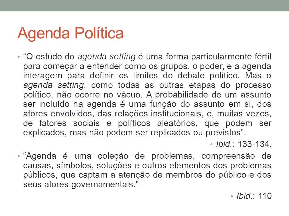 Agenda Política O estudo do agenda setting é uma forma particularmente fértil para começar a entender como os grupos, o poder, e a agenda interagem pa