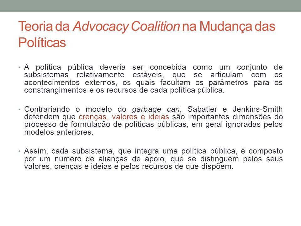 Teoria da Advocacy Coalition na Mudança das Políticas A política pública deveria ser concebida como um conjunto de subsistemas relativamente estáveis,