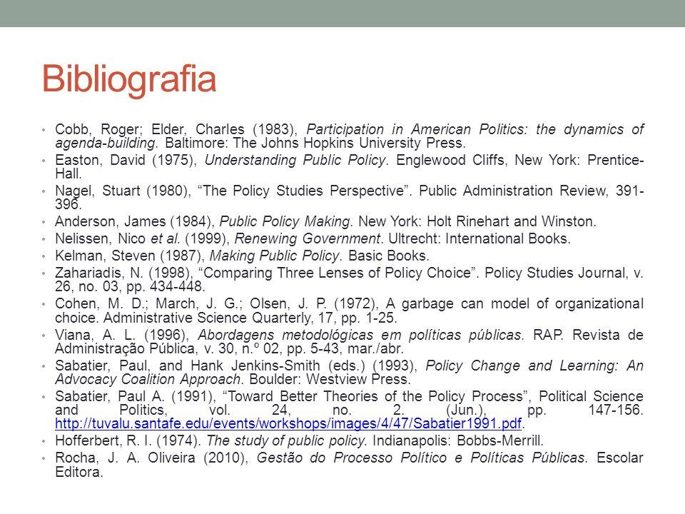 Bibliografia Cobb, Roger; Elder, Charles (1983), Participation in American Politics: the dynamics of agenda-building. Baltimore: The Johns Hopkins Uni