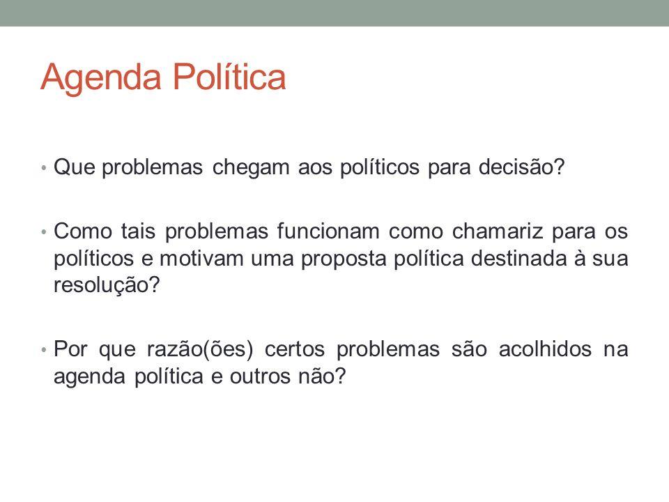 Agenda Política Que problemas chegam aos políticos para decisão? Como tais problemas funcionam como chamariz para os políticos e motivam uma proposta