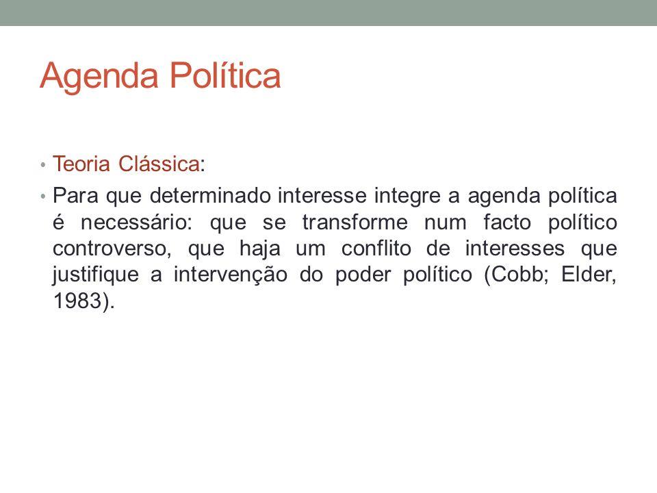 Teoria do Ciclo das Políticas Públicas Enfatiza a definição de agenda (agenda setting) e questiona por que algumas questões são acolhidas na agenda política, enquanto outras são ignoradas.