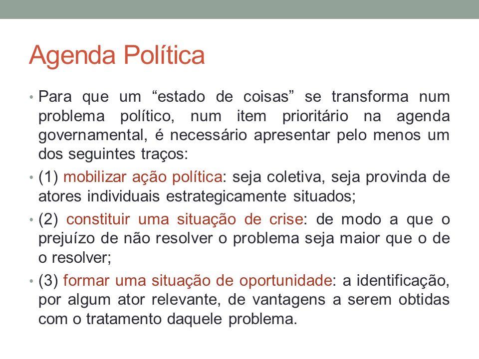 Agenda Política Para que um estado de coisas se transforma num problema político, num item prioritário na agenda governamental, é necessário apresenta