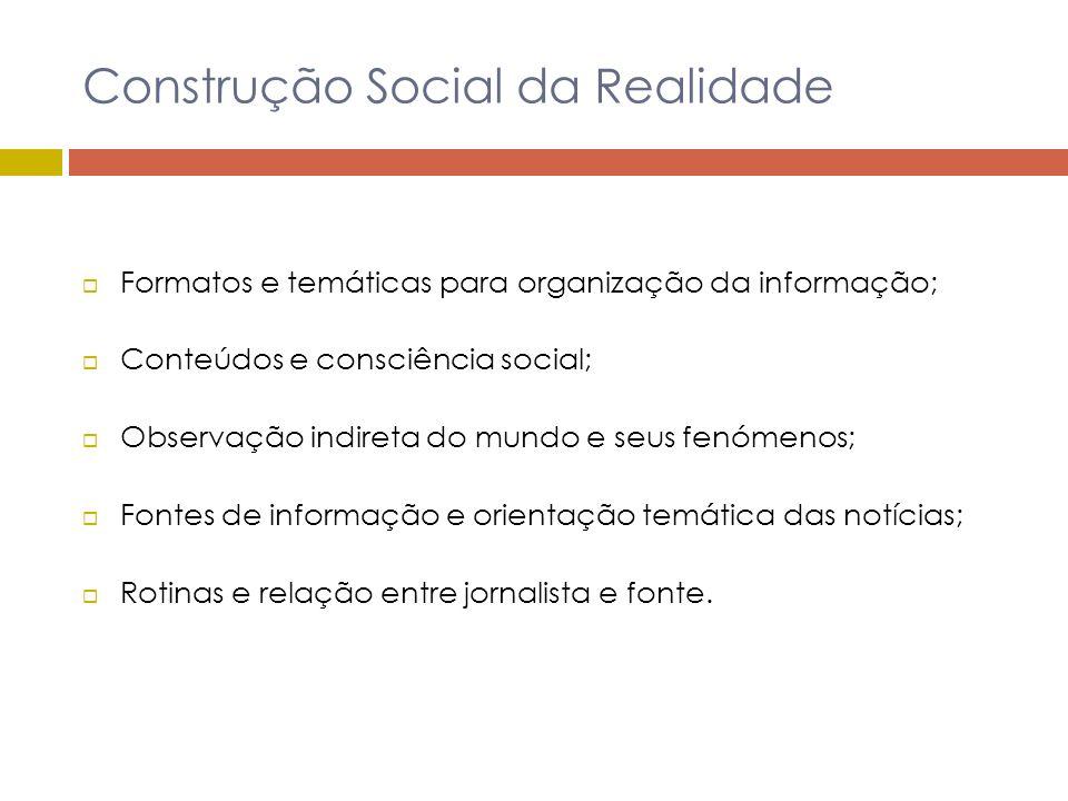 Construção Social da Realidade Formatos e temáticas para organização da informação; Conteúdos e consciência social; Observação indireta do mundo e seu
