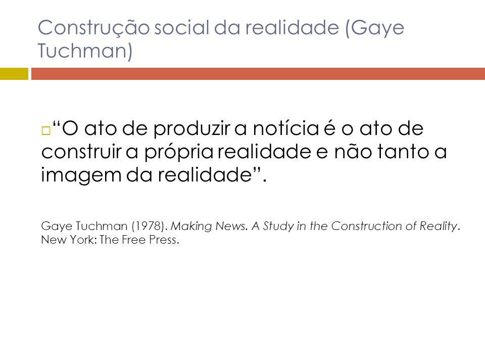Construção social da realidade (Gaye Tuchman) O ato de produzir a notícia é o ato de construir a própria realidade e não tanto a imagem da realidade.
