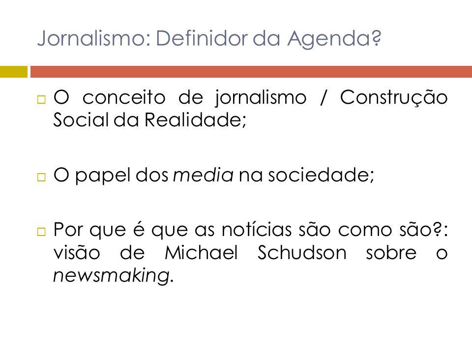 Hipótese do Agenda Setting A hipótese do agenda setting : Analisa os efeitos da agenda mediática na opinião pública; Objectivos: (1) Entender a natureza das notícias.